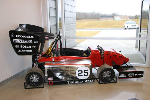 The Formula Buckeye car on display in the TRC Conference Center