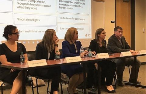 A panel of Smart Columbus experts discusses the project with students